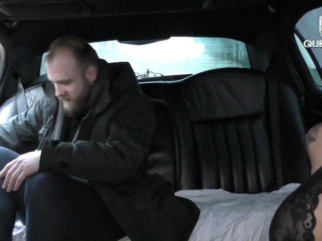 Hardcore 3er Fick-Test für die Limousinen Spermaschlampe! XXXL Doppel Cumshot!